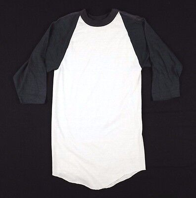 Vtg 1970s Russell Athletic Raglan T-Shirt Youth Medium black white deadstock