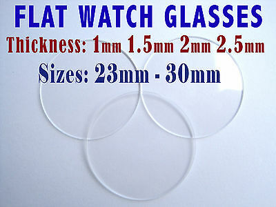 WATCH GLASS FLAT CRYSTAL FACE 1mm 1.5mm 2mm 2.5mm thick, Ø 23-30mm Professional