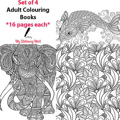 4 Set Adult Colouring Book Therapy Book Garden Animal Ocean Theme Generic Books