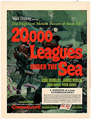 1954 Original Magazine Poster 20,000 Leagues Under The Sea
