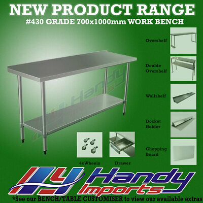 1000x700mm STAINLESS STEEL #430 COMMERCIAL FOOD PREP WORK BENCH W/SPLASH BACK