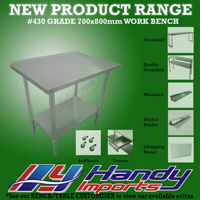 800x700mm STAINLESS STEEL #430 COMMERCIAL FOOD PREP WORK BENCH W/SPLASH BACK