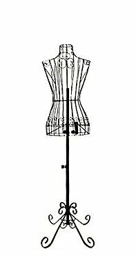 "Female Black Steel Wire Mannequin Dress Form 32""22""32"" on Decorative Stand...NEW"