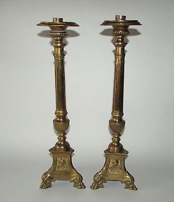 Pair of Large 19th C French Gilt Bronze Candlesticks Neoclassical Column Form