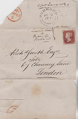 1844 QV WORKSOP NOTTINGHAM WRAPPER WITH 1d RED STAMP TO RICHd SMITH IN LONDON MX