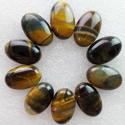 5 PIECES OF 8x6mm OVAL CABOCHON-CUT NATURAL AFRICAN GOLDEN TIGERS-EYE GEMSTONES