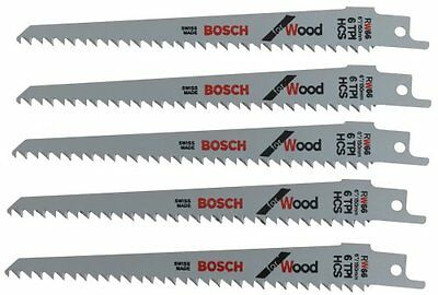 Bosch RW66 6-Inch 6 TPI Wood Cutting reciprocating Saw Blades - 5 Pack...NEW