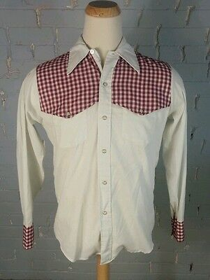 Rare Vintage 60s Sears Red Check Western Pearl Snap Shirt M Rodeo Cowboy Swing