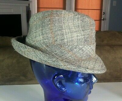 028f2a6dd25 Vtg Levinson Tweed Wool Dress Fedora Hat Cap 7 1 8 OG Pimp Gangster  Rockabilly