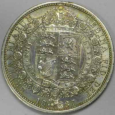 1887 Victoria Solid Silver Half Crown in a very nice high grade and toned