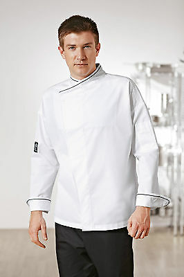 "Mens Executive Chef Jacket 3Xl 56""-58"" White Black Piping  Chefs Velcro Memphis"