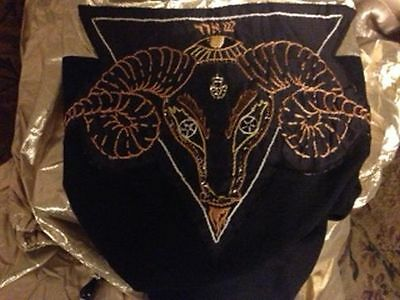 Gold & Black Fabric 5 Ft Utility Table Cover W/ Beaded & Embroidered Decoration!