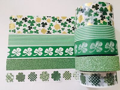 St Patrick's Day Washi Tape: Choose From 4 Designs Of Shamrock Clover Washi New
