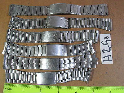 6pc Vintage SEIKO BAND Gents 18mm-19mm  Parts Watch AsIs  H2.9