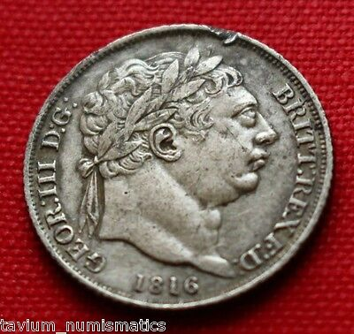 George III Silver Sixpence 1816 Pistrucci Tower Hill London British Coin