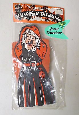 Vintage 1950s HALLOWEEN WITCH CREPE Art Tissue ARMS MIP Honeycomb