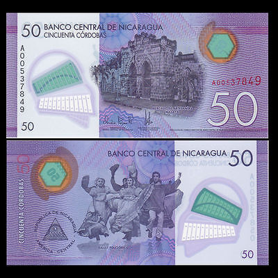 Nicaragua 50 Cordobas, 2014(2015),  POLYMER, UNCIRCULATED WITH  FREE SHIPPING