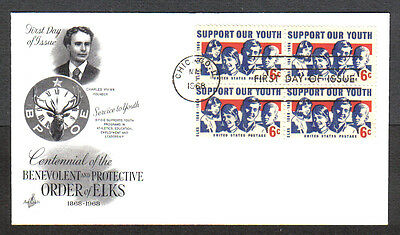 Us Fdc 1968 Elks-Support Our Youth 6C Stamps Art Craft Firt Day Of Issue Cover