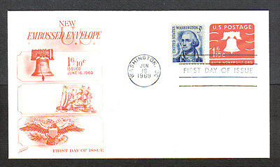 Us Fdc 1969 1 6/10 Auth Nonprofit Org Embossed Env Fleetwood First Day Cover