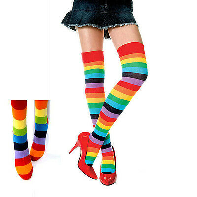 Women Fashion Cotton Blends Thigh High Warm Rainbow Striped Knee Socks Legging