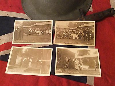 Lot of 4 RPPC King George and Queen at Harefield wounded Australians