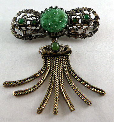 "Vintage CHINESE EXPORT Carved Green Jade Brass Pin, 2 x 2"" Braided Tassel Brooch"