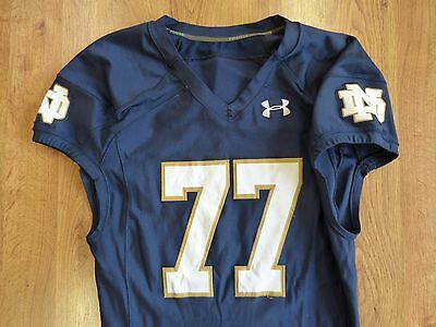 Notre Dame 2014 Authentic Game Worn Home Jersey Under Armour # 77 Irish
