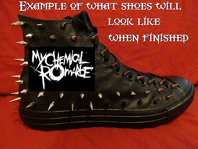 MY CHEMICAL ROMANCE Punk Rock Band CUSTOM STUDDED Converse Sneakers SHOES SPIKES