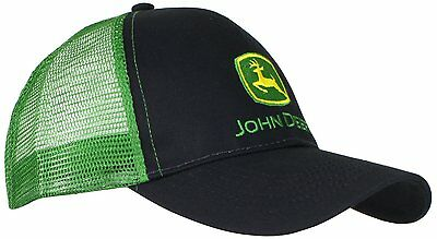John Deere Mens Black Front Green Mesh back Classic Logo Cap Hat Adjustable