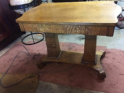 Antique vintage Quarter Sawn Tiger OAK Table Library Coffee Solid top w/ Drawer