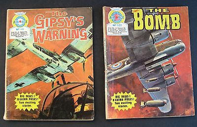 """2 Air Ace Picture Library #499 & 502 Comics 1970 """"the Bomb"""" """"the Gypsy's Warning"""