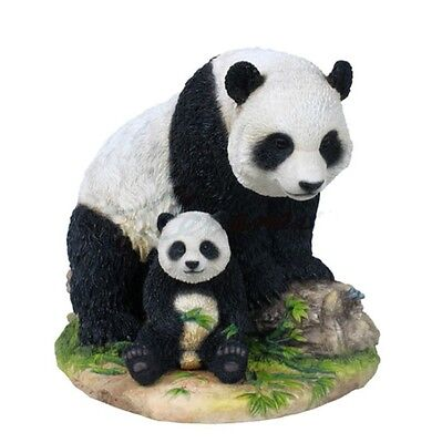 "7.5"" Panda & Cub Nature Wildlife Animal Statue Wild Sculpture Baby Bear"