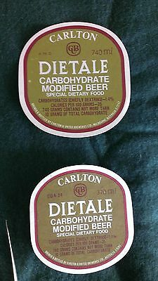 2x Carlton Diet Ale Beer Labels