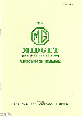 MG Midget Series TF and TF1500 Service Book -Original publication reprinted *NEW