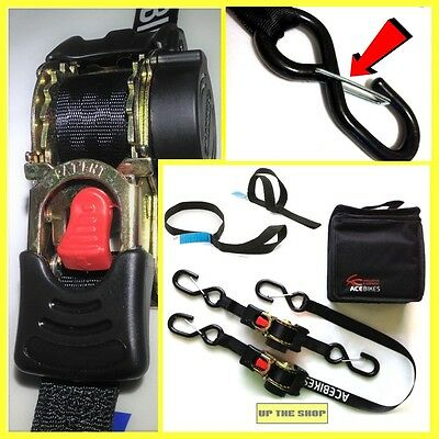 2 Retractable ratchet tie down straps with safety locking clips, suit Scomadi