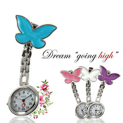 Butterfly Nurse Watch Chrome Clip Pocket Watch for Pouch with Spare Battery UB