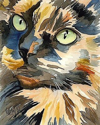 Calico Cat 8x10 Art Print Signed by Artist Ron Krajewski Painting