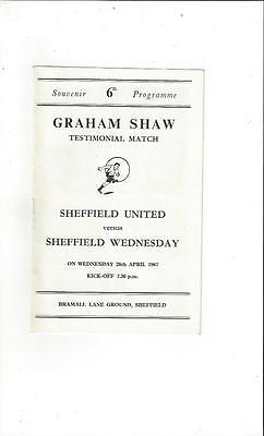 Sheffield United v Sheffield Wednesday Graham Shaw Testimonial Programme 1967