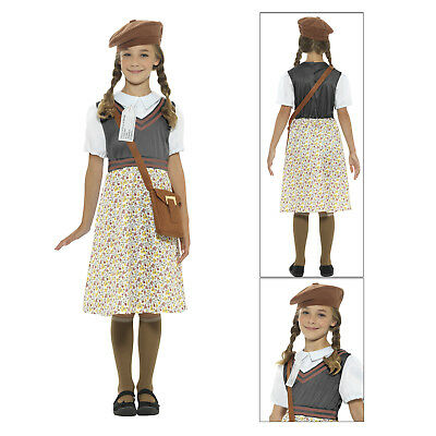 Smiffys Kids Evacuee School Girl Book Week Full Fancy Dress Child Costume Outfit