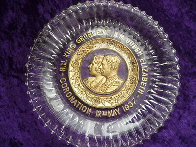 Gilded Glass Coronation Plate 1937 King George VI and Elizabeth poss Sowerby