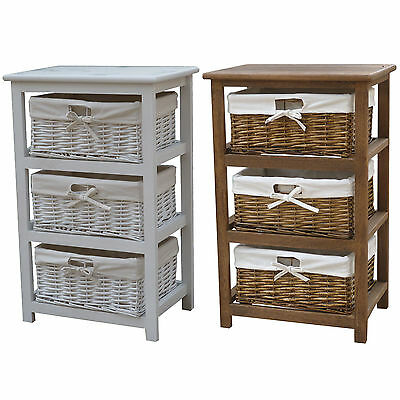 Charles Bentley Wooden Storage Tower w/ 3 Wicker Baskets Boxes - White & Natural