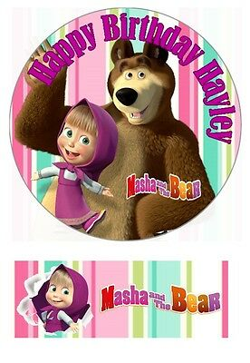 Masha and the Bear Personalized Edible Cake toppers 7 Inch or cupcakes Precut