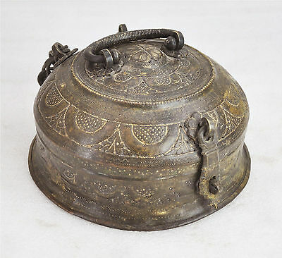 1800s Indian Antique Hand Crafted Fine Engraved Brass Chapati Bread Box
