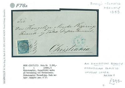 DBF76a~ 1853 NORWAY Christiania Local Exhibition Quality Classic Imperf Cover