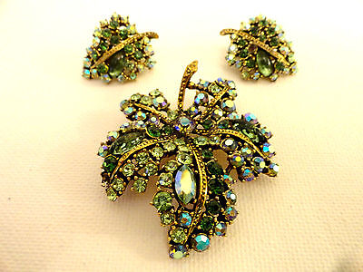Vintage 1940 Crystal Art Signed Brooch and Clip on Earrings