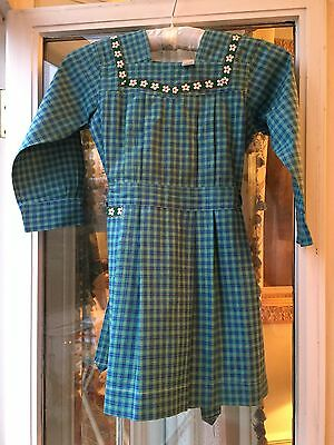 Vintage 1940 French School Apron smock girl Plaid green/blue Old stock New like