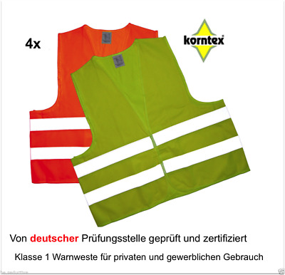 4 Reflective vest yellow Break-down crew Safety ISO20471:2013 Car