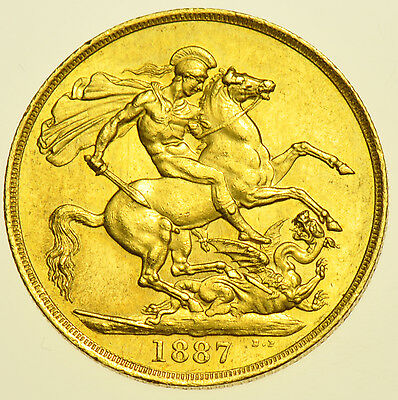 1887 Two Pounds £2, British Gold Coin From Victoria Au