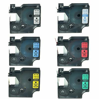 6PK 45010 45011 45016 45017 45018 45019 Label Tape For Dymo D1 LabelManager 12mm