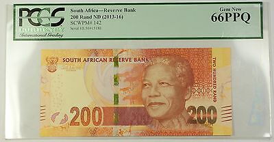 (2013-16) ND South Africa Mandela 200 Rand Note SCWPM# 142 PCGS Gem New 66 PPQ